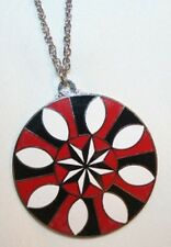 Large Black Red White Starburst Good Luck Hex Necklace  ++++++