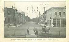 Postcard Forest Avenue West from Main Street, Great Bend, Kansas - used in 1909