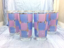 4 Rare Vintage Retro Libbey Blue Pink Gold Square Frosted Pattern Tumbler Glass