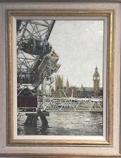 "Nuevo Original Dennis Syrett ""Big Ben London Eye Westminster"" Thames pintura al óleo"