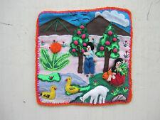 Peruvian folk art fabric piece - rural scene