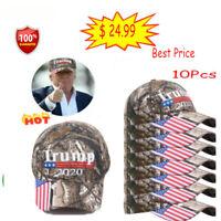 10Pcs Trump 2020 Embroidered Camo Hat Keep Make America Great Baseball Cap aa