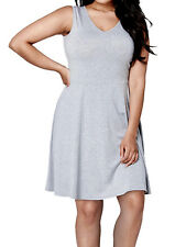 NEW ex Simply Be GREY MARL Sleeveless Jersey Skater Tunic Dress size 22 26 30 32