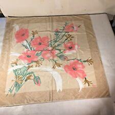 Vtg Fabulous Vera Neumann Wildflower Pink Poppy Bouquet Flowers Scarf Spring
