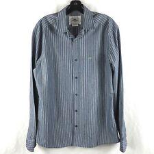78c281ebe97e Lacoste Men s Dress Shirt Button Down Slim Fit Pocket Striped Cotton Blue 40