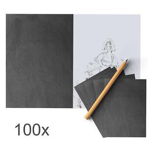 100pcs A4 Carbon Transfer Paper Graphite Art Wood DIY Supplies Drawing Art UK