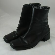 "Caressa Black Leather Ankle Boots Rubber Sole Womens 9 Heels 2"" Jackie Lined"