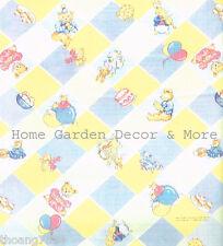 Teddy Bear Bunny Blue Yellow Diamond Vinyl Contact Paper Shelf Liner Drawer
