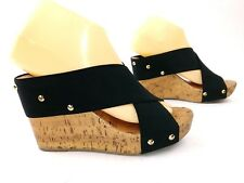 Charming Charlie Womens Strappy Wedges Size 7.5 Black Gold Studs