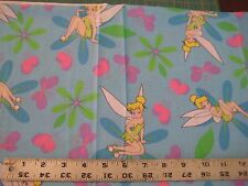 Tinkerbell, Disney, blue background, cotton quilt fabric  (#120) 1 yard