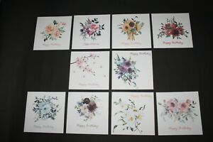 Pack Of 10 Handmade Floral Flowers 'Happy Birthday' Cards