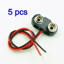 5, DC 9V 9 Volt Battery Clip Connector Snap On Straps T Type Hard Shell