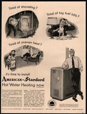 1954 AMERICAN STANDARD PRODUCTS- Heater- Winter- Housewife- Husband-  VINTAGE AD