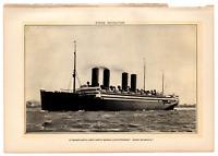 1902 Antique Picture German Steamship Transatlantic Liner Kaiser Wilhelm II