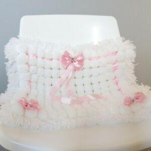 Luxurious Pom Pom Blanket In White and Pink Mix Blanket Baby Girl
