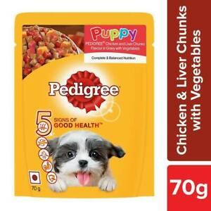 Pedigree Puppy Wet Chicken Liver Chunks Gravy with Vegetable 70 g (Pack of 12)