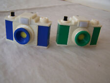 2 VINTAGE SMALL HAMMERFEST PLASTIC CAMERA SHAPED PENCIL SHARPENERS