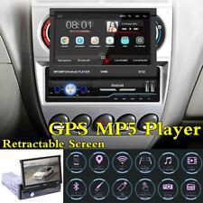 "7"" GPS Car Radio HD Retractable Screen Stereo Head Unit 1Din Bluetooth Player"