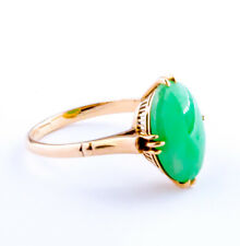 Antique Green Jade Oval 14k Gold Ring  Size 5.25