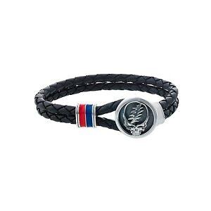 Grateful Dead Sterling Silver, Blue and Red Enamel & Leather Bracelet - Size 8.5