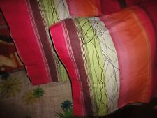 GARNET HILL PUPPY RETRO BOHO PINK RED GREEN STRIPE (PAIR) STANDARD PILLOWCASES
