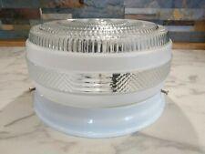 VINTAGE FLUSH MOUNT CEILING LIGHT FIXTURE CLEAR & MILK GLASS