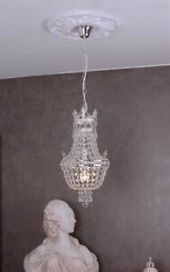 Chandelier crystal Empire basket candelabrum lustre brass ceiling lamp vintage