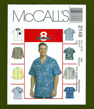 Men's Hawaiian Style Shirt Sewing Pattern (Size Medium ~ 38, 40) McCalls 2149