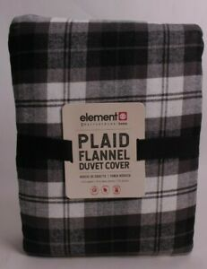 Pottery Barn Teen Element Plaid Organic flannel FQ duvet cover full queen, black