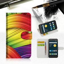 Meaningful Abstrac Wallet Case Cover For Telstra Optus Alcatel Pixi 3 4.5 --A020