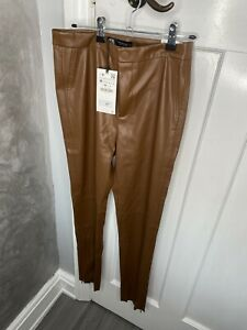 Zara Brown Leather Leggings Size Medium