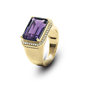 14K Solid Yellow Gold Natural Amethyst & Diamond Gem Stone Men's Ring