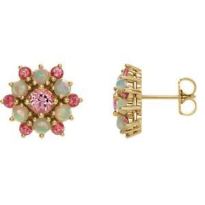 14k Yellow Gold Pink Topaz and Ethiopian Opal Stud Earrings