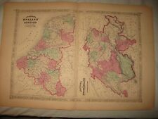 Huge Fine Antique 1868 Holland Belgium Switzerland Johnson Handcolored Map Rare