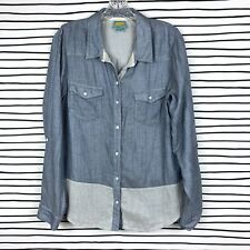 Anthropologie C&C California Chambray Microdot Button Down Shirt Top Blue Size M