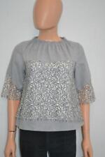 Marissa Webb Grey Wool w/White/Black Lace 3/4 Sleeve Top Size 2