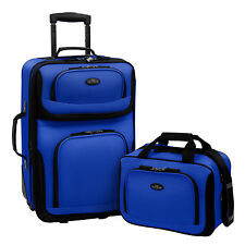 US Traveler Blue Rio 2pc Carry-on Lightweight Expandable Rolling Luggage Bag Set