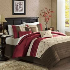 BEAUTIFUL RICH & ELEGANT RED BROWN BEIGE COMFORTER SET 7 PC QUEEN OR KING & CAL