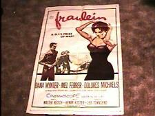 FRAULEIN  MOVIE POSTER '58 GREAT BAD GIRL