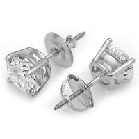 2.1 ct Brilliant Round Cut Screw Back Earring Studs Real Solid 14K White Gold