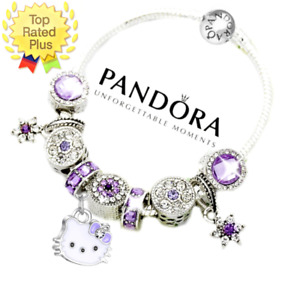 Pandora Bracelet Silver Birthday HELLO KITTY Purple with European Charms New