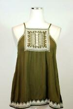 womens green ECOTE URBAN OUTFITTERS embroidered open tie back tank top shirt M