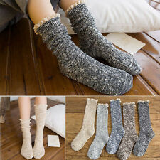 5 Pairs/Lot 5 Color Women Girl Cotton Knit Warm Calf Booties Piles Lace Socks
