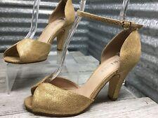 Chelsea Crew Women's Gold Vintage D'Orsay Shimmering Pump Sandel Size 7