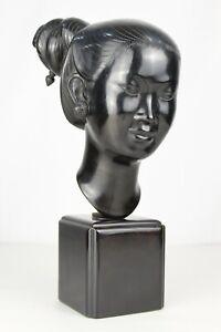 """Large Vintage 14"""" THANH LE NGUYEN Bronze Bust Sculpture Laotian Woman Vietnamese"""