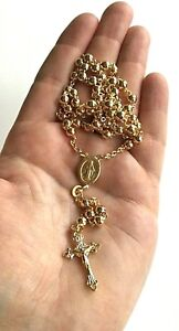 """18k Gold Over Solid 925 Sterling Silver Italian Rosary 24""""-5mm / Rosario plata"""