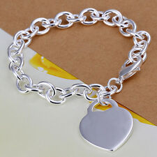 925 Stamped Sterling Silver Filled SF Heart Pendant Charm Bracelet BL-A250