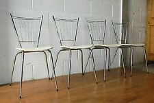 4 VINTAGE FRENCH TUBMENAGER SA RANGER CHROME & VINYL KITCHEN DINING CHAIRS