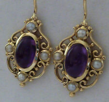LOVELY 9ct Solid Gold 7.10 Carat NATURAL Amethyst & Pearl ORNATE Earrings E14