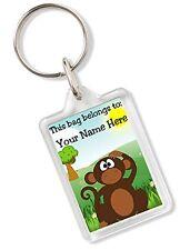 Personalised Kids Childs School Bag Tag Animal Keyring With Monkey AK75
